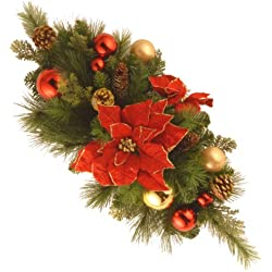 National Tree 30 Inch Decorative Collection Centerpiece with Ball Ornaments, Cones and Red Poinsettia Flowers (DC13-110-30C)