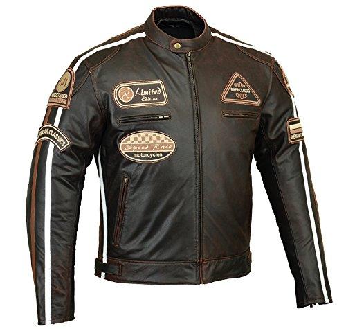 Schwarz BOS Retro Racing Motorrad-Lederjacke Motorradjacke L