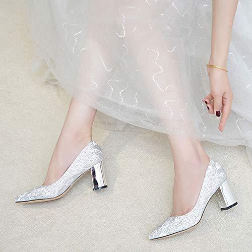 Pleines élégant 5cm Paillettes 7cm 449 Les Conception Femmes Silver Pointue à la 5cm et d'argent Simple Talons d'orteil avec Hauts RxxBwq6