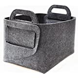"Xian min lu trade co., LTD Felt Storage Basket Bins(14""×10×""×9""), Collapsible baskets for Home bedroom bathroom Shelves Closet Clothes toy laundry(Grey)"