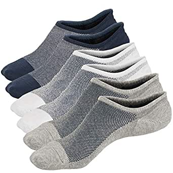 Toes Home Mens No Show Low Cut Non Slip Socks - 3/6 Pack Casual Crew Ankle Mesh Knit Cotton Socks (3 Pairs Pack(1 Grey + 1 White + 1 Navy))