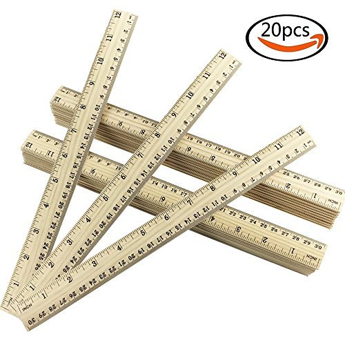 Outuxed 20 Pack 12 inch Wooden Rulers Students Ruler Wooden School Ruler Office Ruler Scale Ruler 2 Scales (30 cm)