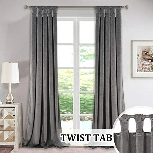 Extra Long Velvet Curtains Pair – Super Soft Plush Velvet Drapes with Tab Top Knotted Design, Room Darkening Curtain Panels for Living Room Sliding Glass Door, Grey, W52 by L108-inch, Set of 2