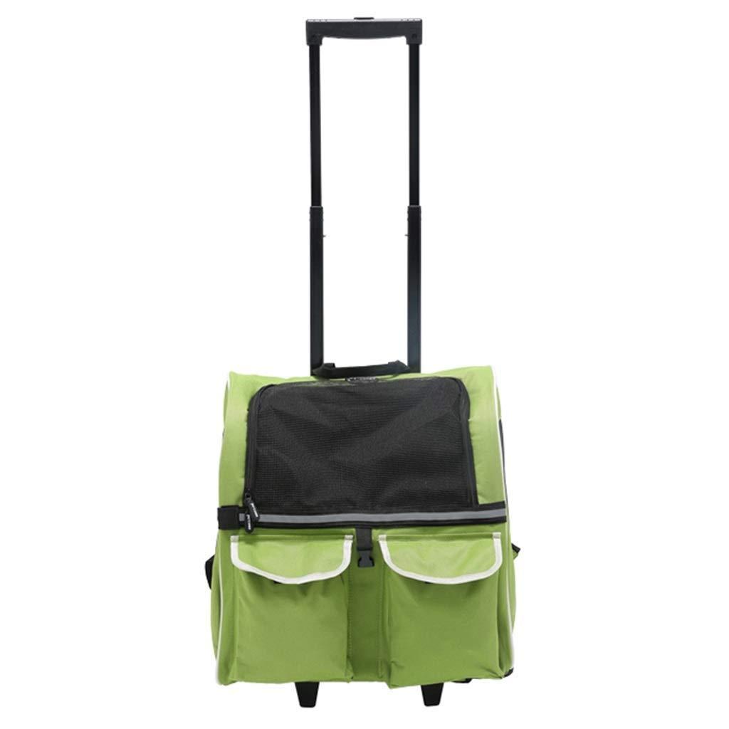 Green YSNRH Pet Backpack Portable Fabric Pet Rolling Carrier, Cat Dog Puppy Travel Trolley Backpack Large Dog Bag Shoulder Waterproof Breathable Knapsack Bag Outdoor,Travel,Walking,seat Carrier