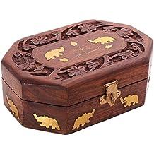 Store Indya Cyber Monday Decorative Handmade Wooden Box Jewelry Trinket Holder Organizer Keepsake Storage Box Elephant Brass Inlay