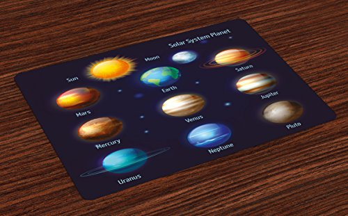 Ambesonne Educational Place Mats Set of 4, Solar System Planets and The Sun Pictograms Set Astronomical Colorful Design, Washable Fabric Placemats for Dining Room Kitchen Table Decor, Multicolor by Ambesonne