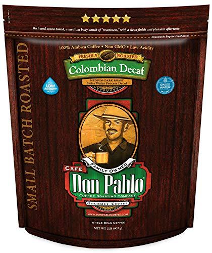 2LB Don Pablo Colombian Decaf – Swiss Water Process Decaffeinated – Medium-Dark Roast – Whole Bean Coffee – Low Acidity…