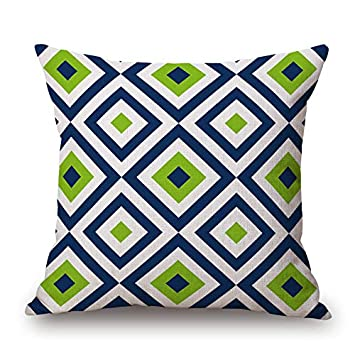 Astonishing Throw Pillow Cover 18X18 Beautiful Abstract Geometric Diamonds Square Navy Lime White Spring Summer Home Decor Invisible Zipper Durable Decorative Andrewgaddart Wooden Chair Designs For Living Room Andrewgaddartcom