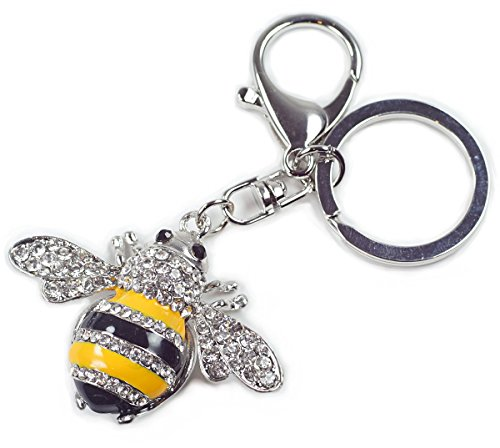 Enamel Bumble Bee Rhinestone Crystal Handbag Key Ring Chain Keychain - Bee Enamel Charm
