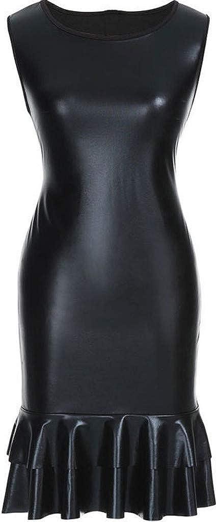 Gergeos Women Leather Mini Dress Fashion Sleeveless Ruffle Splice Slim Casual Dresses
