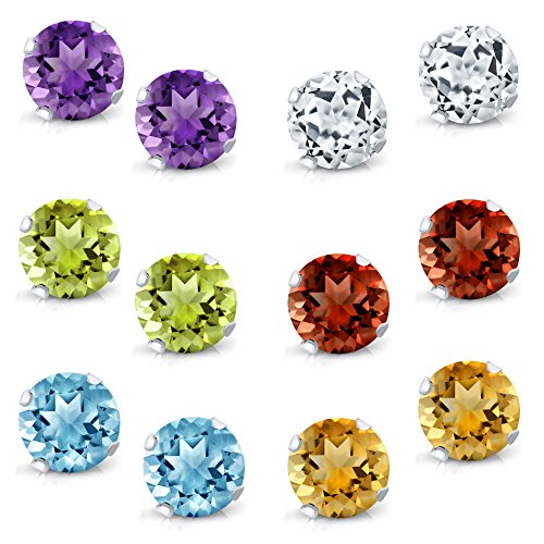 (Gem Stone King Sterling Silver Round 4MM Amethyst Topaz Garnet Citrine Peridot Stud Earrings Set of 6)