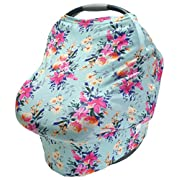 LulaBaby - 360° 4-in-1 Stretchy Car Seat Cover, Nursing Cover, and Shopping Cart Cover (TEAL FLORAL)