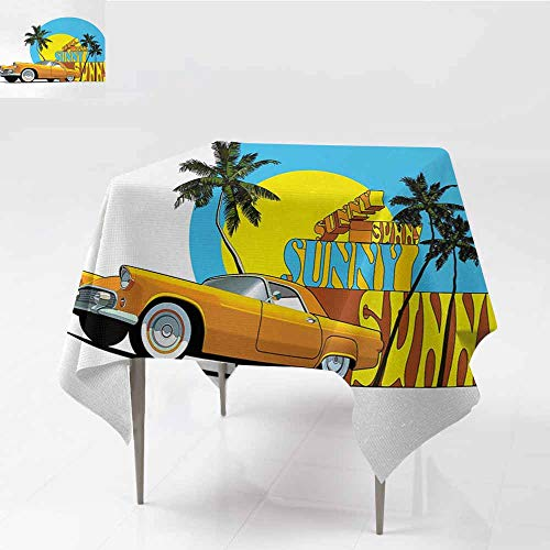 (Antifouling Tablecloth Retro Vintage Car in Magic City Miami with Exotic Coconut Trees Sunny Day Beach Yellow Blue Orange Party W54)