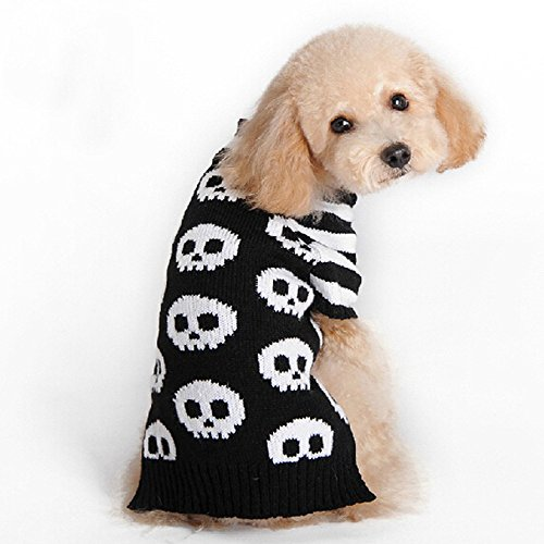 Glumes Halloween Dog Printed Sweaters,Halloween Party Skeleton Skull Ghost Pattern Cosplay Apparel Clothes Christmas Pets Dress up Hoodie Coat for Small Medium Dogs/Kitten Outfits (Skeleton Chihuahua)