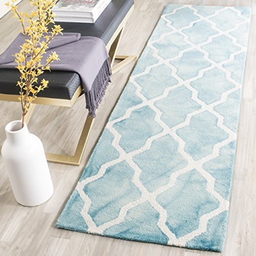 Safavieh Dip Dye Collection DDY540D Handmade Vibrant Geometric Moroccan Watercolor Turquoise and Ivory Wool Runner (2'3 x 8′)