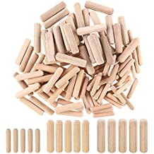 """250 1000 wood pieces 1//2/"""" x 2/"""" grooved fluted wooden dowel pin 50 100 500"""