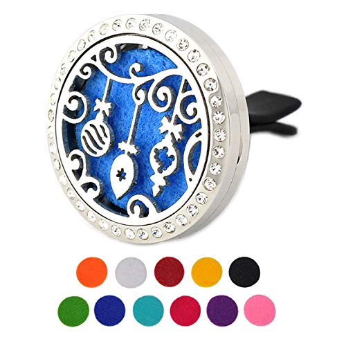 Car Aromatherapy Essential Oil Diffuser Air Freshener Vent Clip, Christmas Lights Rhinestones Stainless Steel 30mm Locket, 11 Refill Pads