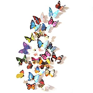 Amaonm® 19 Pcs Removable Diy Pvc 3d Colorful Butterfly Wall Sticker Murals Wall Decals Wall Decorations Art Decor Decal for Nursery Room Classroom Offices Kids Bedroom Bathroom Living Room(color B)