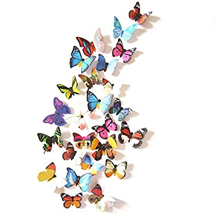 Amazoncom Amaonm Pcs Removable Diy Pvc D Colorful Butterfly - Butterfly wall decals 3dpvc d diy butterfly wall stickers home decor poster for kitchen