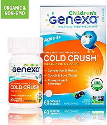 Genexa Cold Crush for Children | Certified Organic & Non-GMO, Physician Formulated, Homeopathic | Cough & Cold Medicine for Children | 60 Tablets