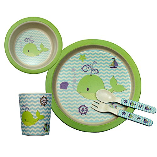 Bamboo Fiber Kids Dinner Ware 5pcs Less Melamine, BPA Free,FDA&LFGB Food Safety Approval,whale inset.