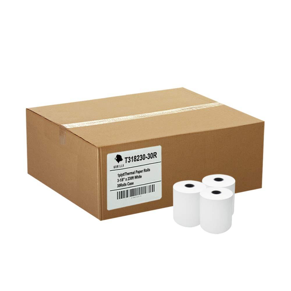 Gorilla Supply 3-1//8 x 230 Thermal Paper Rolls TM-T88 T-20 T-90 Bixolon SRP-350 370 T318230-30R 30