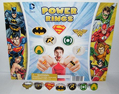 Batman Superman Justice League Superhero Logo Power Ring Toy Set of 7 with Aquaman, Wonder Woman, Flash and Bonus Logo Tattoo!]()