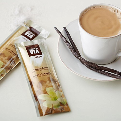 Starbucks VIA Latte Samplers - Caffe Mocha, Vanilla Latte, White Chocolate Mocha, Caramel Latte (8 Packets)