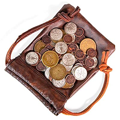 The Dragon's Hoard: 60 Real Metal Fantasy Coins with Leather Pouch | Board Game Accessory for Tabletop RPG Role-Play Strategy Games | Bronze, Silver, and Gold Colored Coins: Toys & Games
