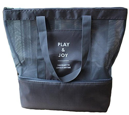 Lazyaunti Mesh Beach Totes Bag For Kids Toy Organizer Bag with Zipper Insulated Picnic Cooler Bag  for Travel Shopping Pool Yoga Gym Bag (Black)