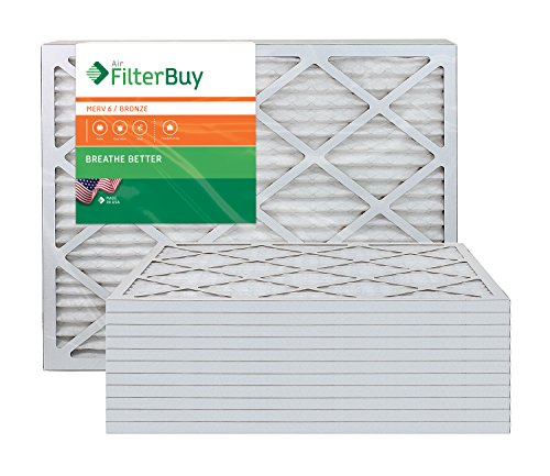 AFB Bronze MERV 6 20x23x1 Pleated AC Furnace Air Filter. Pack of 12 Filters. 100% produced in the USA. by FilterBuy