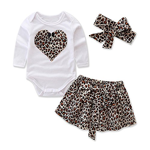 Voberry@ Baby Girl Outfit Leopard Print Long Sleeve Romper Dress Skirts with Headband Clothes Sets Toddler Fall Holiday Princess Dress (0-3 Months)