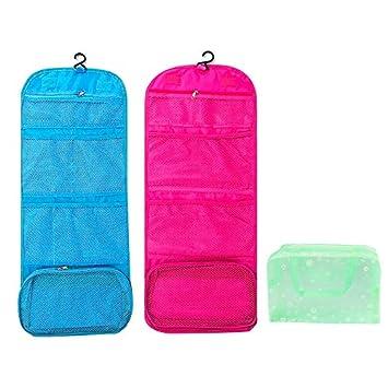 meilleur site web 51d1d 4e33b Paquet de 2 trousses de toilette à suspendre avec crochet, Comestic  Organizer, sac pliant avec compartiment transparent, avec un sac de  toilette ...
