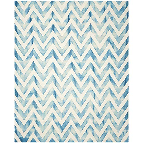 Safavieh Dip Dye Collection DDY715H Handmade Ivory and Turquoise Wool Area Rug, 8 feet by 10 feet (8
