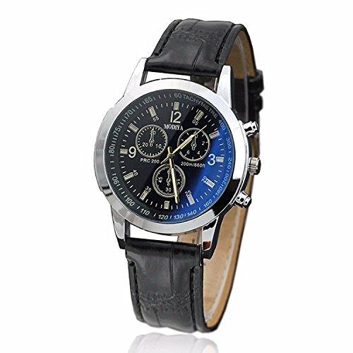Big Luxury Men's Wrist Watch - Leather Watch Band - 40mm Analog Watch - Japanese Quartz Movement (C)