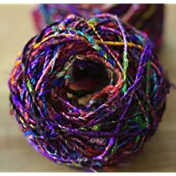 Chunky Weight Banana Silk Fiber Yarn - Super Soft Handspun Colorful Strong is Good for Knitting, Crocheting and Jewelry Making - Kaleidoscope