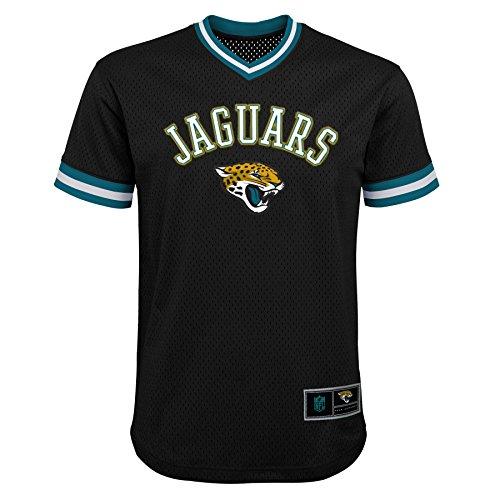 NFL Jacksonville Jaguars Youth Boys Twill V-Neck Mesh Fashion Top Black, Youth Medium(10-12)