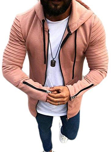 Unko Mens Zipper Hooded Pocket Ruched Fashion Jacket Coat Outwear Pink S (Ruched Jacket Pocket)