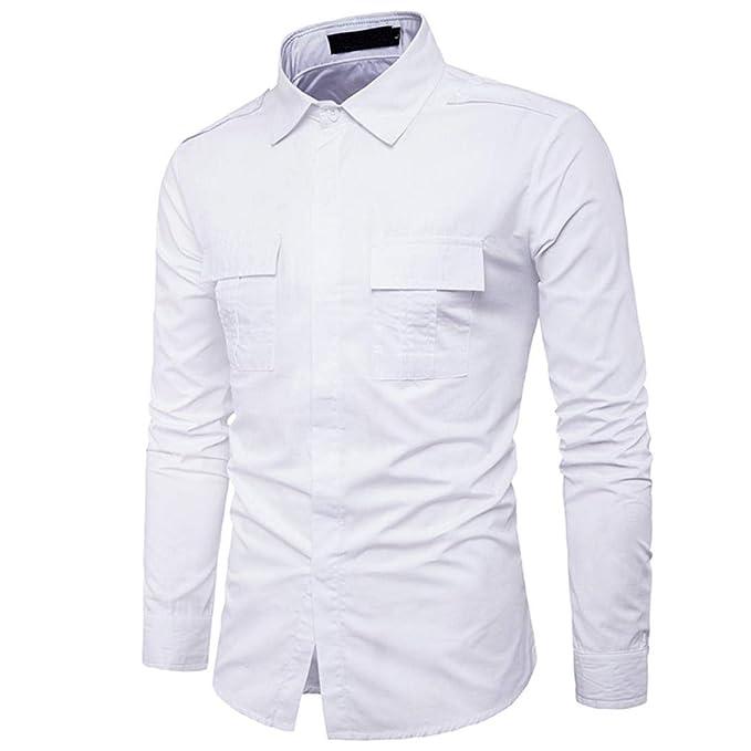Camisas Hombre,Hombres oto/ño Casual Militar Cargo Slim bot/ón Manga Larga Camisa Tops Blusa