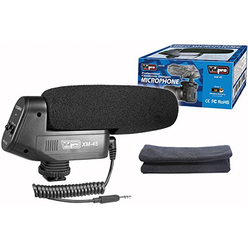 Vidpro XM-45 Professional Condenser Shotgun Video Microphone Includes Furry Windscreen, Foam Windshield & Pouch