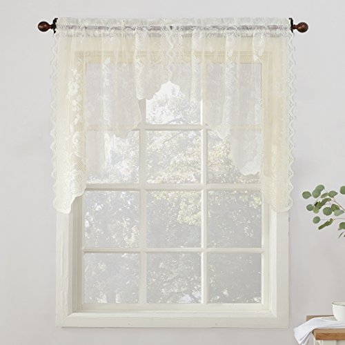 Ivory Swag - No. 918 Alison Floral Lace Sheer Curtain Swag Pair, 58