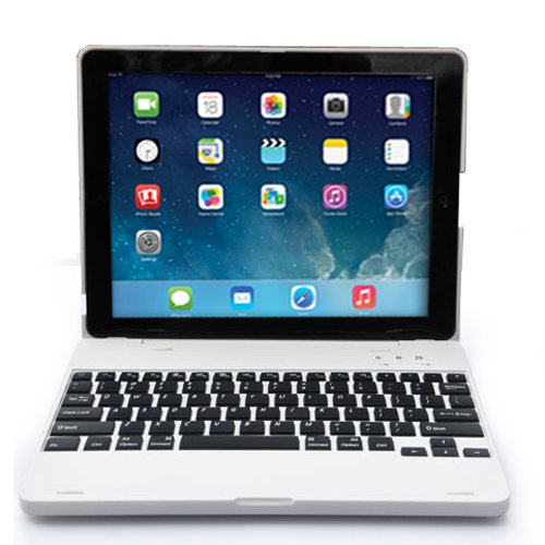 DAXXIS iPad2/3/4 Bluetooth Wireless Keyboard Clam Cover Case with Stand for iPad 2/3/4. Built In 4000 mah Power Bank Lithium Battery & Stand with 135 Degrees Adjustable Angles. (iPad 2/3/4, #White) by DAXXIS (Image #1)