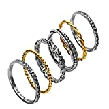 Paz Creations ♥925 Sterling Silver Set of 6 Stacker Rings (7), Made in Israel