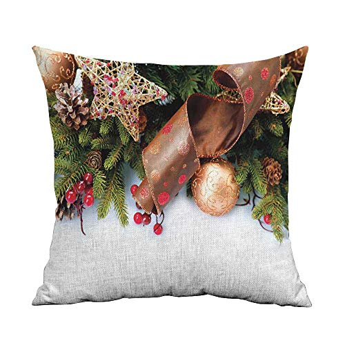 Christmas Pillowcase Hug Pillowcase Cushion Pillow Pine Cones with Garland Tree Topper Star Mistletoe and Swirled Ornate Elements Anti-Wrinkle Fading Anti-fouling W18 x L18 Inch Multicolor