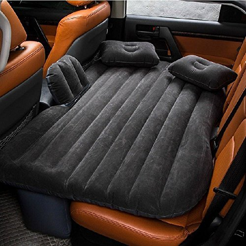 Super PDR Flocking Auto car inflatable air bed outdoor sofa Mobile Cushion Sleep Rest Mattresses Universal Car (Black with baffle)