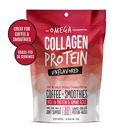 Omega Collagen Peptides Protein Powder for Coffee - Grass-fed | Perfect for Hair, Skin, Nails, Joints | Essential Amino Acids | Keto, Paleo, Low Carb, Pasture-Raised | Unflavored (12 ()