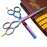 "Hairdressing Scissor Shears for Barber and Salon Styling Hair Cutting Thinning Set of 5.5"" Multi Color Fix Screw Stainless Steel with Comb and Leather looking Case"
