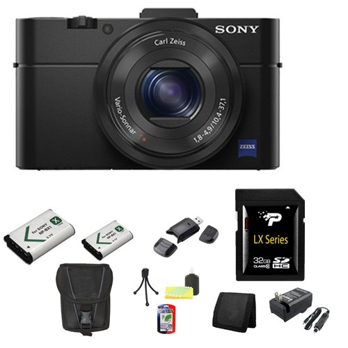 Sony DSC-RX100M II Cyber-shot Digital Still Camera 20.2MP, Black + 32GB SDHC Class 10 Memory Card + External Rapid Charger + NP-BX1 battery + Sony Carrying Case + Table Top Tripod, Lens Cleaning Kit, LCD Protector + USB SDHC Reader + Memory Wallet - Sony K4 Video Camera