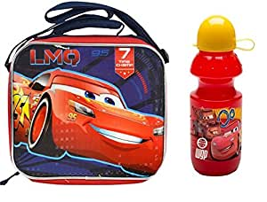 Disney Licensed Cars 3 LMQ 7 Time Champ Blue Rectangle Lunch Bag with Strap Plus Water Bottle