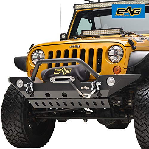(EAG Stubby Front Bumper with Skid and Winch Plate and D-rings Fit for 07-18 Jeep Wrangler JK)